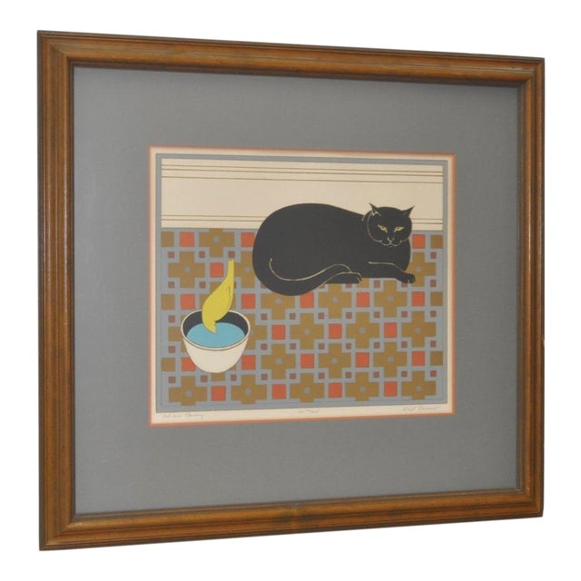 "Will Barnet ""Cat and Canary"" Pencil Signed Lithograph C.1970s For Sale"