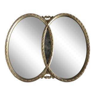 1970s Hollywood Regency Double Interlocking Gilt Mirror For Sale
