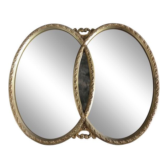 1970s Hollywood Regency Double Interlocking Gilt Mirror For Sale