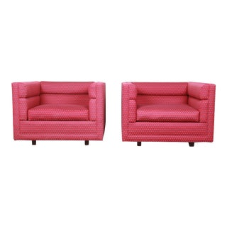 """Roger Sprunger for Dunbar """"Channel"""" Cube Lounge Chairs, Pair For Sale"""