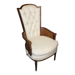 Vintage Mid Century White Upholstered Oversized Chair For Sale