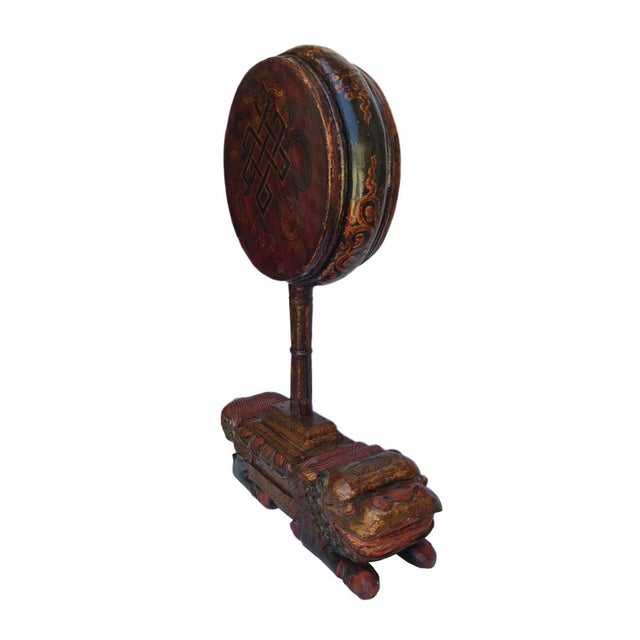 Asian Vintage Tibetan Wooden Music Instrument Statue For Sale - Image 3 of 6