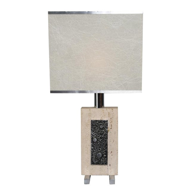 1970's VINTAGE ITALIAN TRAVERTINE AND STEEL TABLE LAMP For Sale