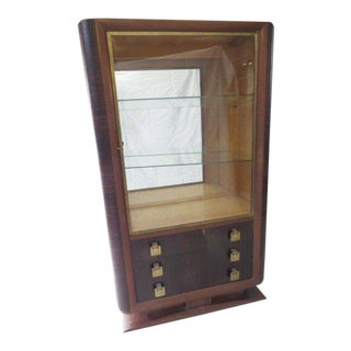 Antique French Art Deco Macassar and Bronze Single Door Vitrine Cabinet For Sale