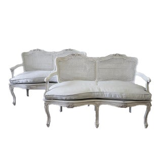 Antique French Country Louis XV Style Painted & Linen Upholstered Settees For Sale