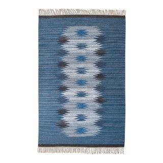 1950s Vintage Handmade Swedish Flat-Weave Rug - 5′3″ × 8′2″ For Sale