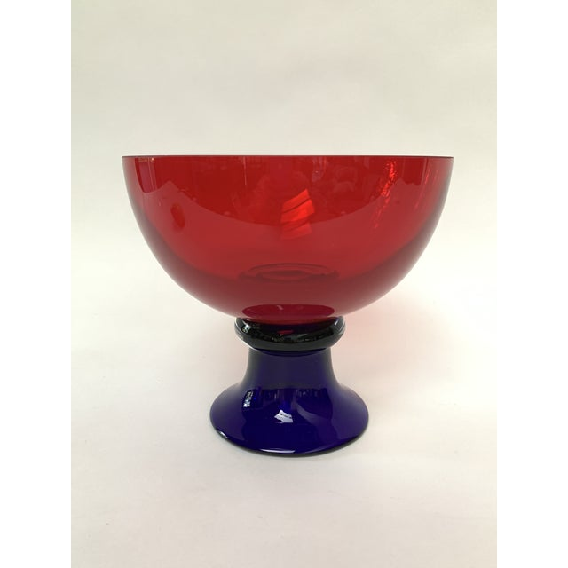 Italian Memphis Style Footed Glass Bowl For Sale - Image 3 of 10