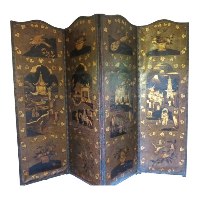 19th Century Antique Leather Screen Embossed and Gilded For Sale
