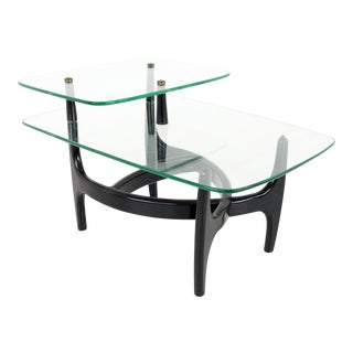 Adrian Pearsall Mid Century Modern Glass and Black Ebonized Side End Table For Sale