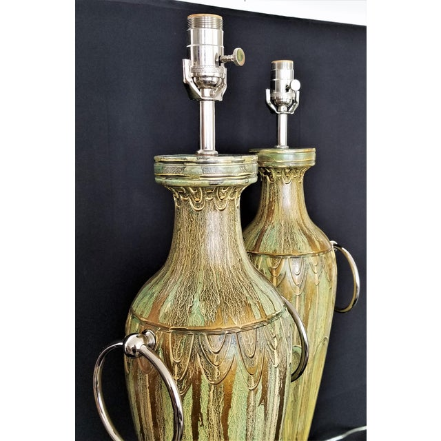 Art Deco Pair Ceramic Table Lamps - Fully Restored- Faux Marbleized Green Gold and Nickel Plated For Sale - Image 3 of 11