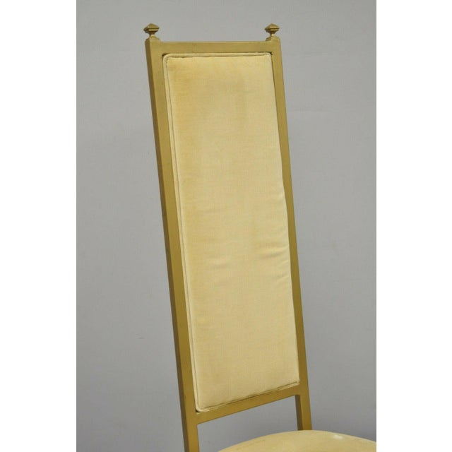 Vintage French Hollywood Regency Style Cast Metal Tall Back Side Chair by Kessler. Item features tall sculptural back,...