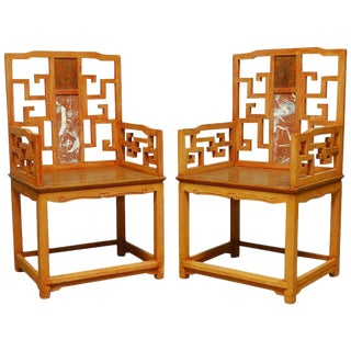 Chinese Ming Style Armchairs with Dali Marble Inset - A Pair For Sale