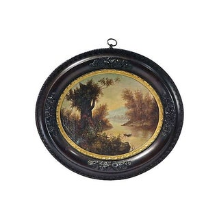 Antique Oval Lake Scene Oil Painting For Sale