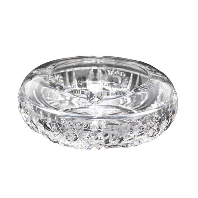 Transparent 1960s Hollywood Regency Thick Cut Crystal Ashtray For Sale - Image 8 of 8