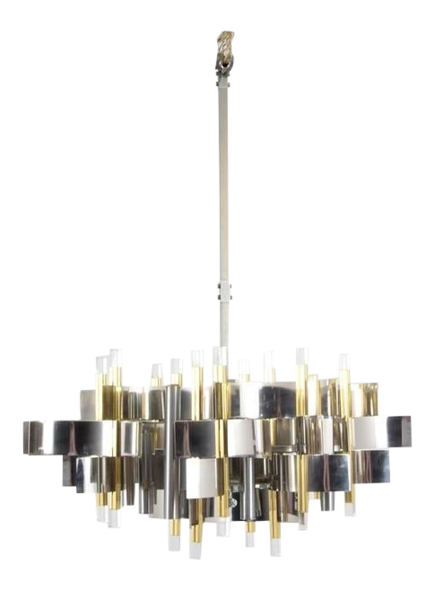 Excellent 1960s Italian Gaetano Sciolari Brass Chrome And