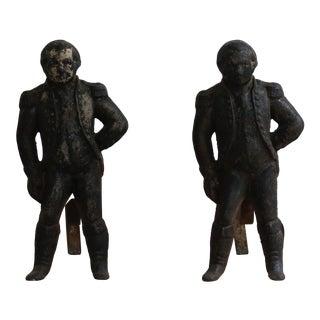 Cast Iron George Washington Andirons For Sale