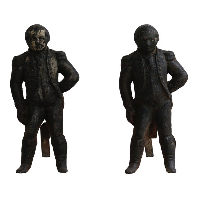 Cast Iron George Washington Andirons For Sale