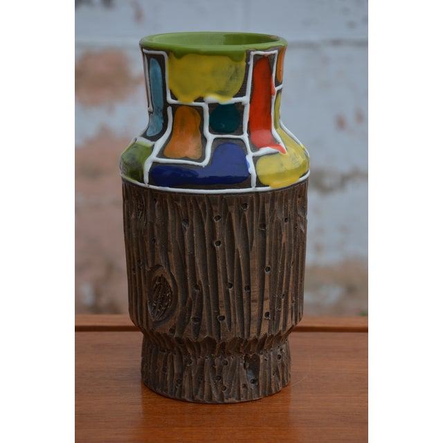 Bitossi for Raymor Mondrian & Wood Themed Vase For Sale - Image 10 of 10