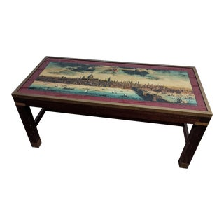 Military Campaign Style Pictorial Coffee Table For Sale