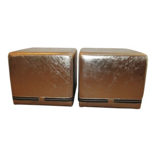Metallic Zippered Cube Ottomans-a Pair For Sale