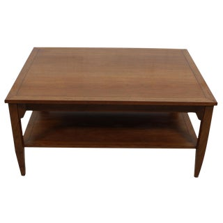 Michael Taylor for Baker Walnut Coffee Table With Shelf For Sale