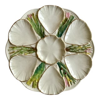 White English Majolica Oyster Plate For Sale