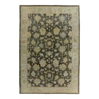 Turkish Oushak Rug with Pink & Gold Floral Details on Ivory & Brown Field For Sale