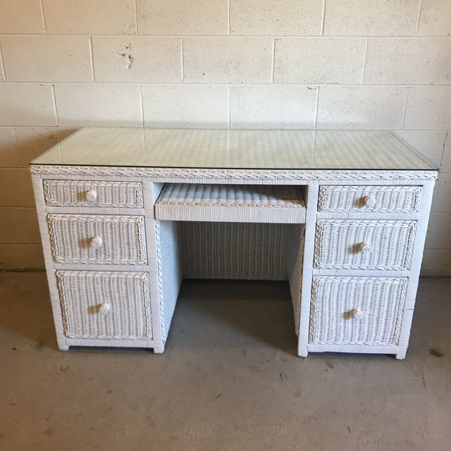Vintage White Wicker Writing Desk For Sale - Image 10 of 10