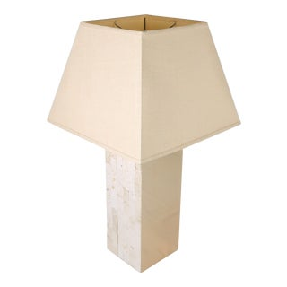 Italian Modern Brass & Travertine Table Lamp For Sale