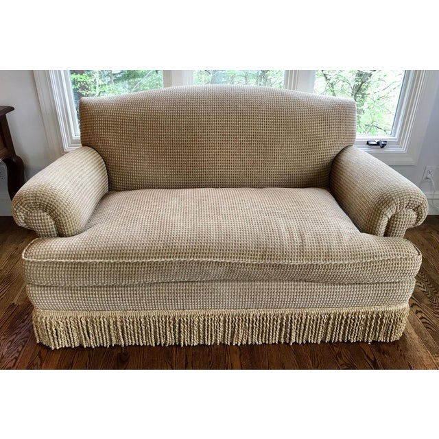 Modern Brunschwig & Fils Oxford Gold Chenille Fabric Sofa & Loveseat - A Pair For Sale - Image 3 of 13