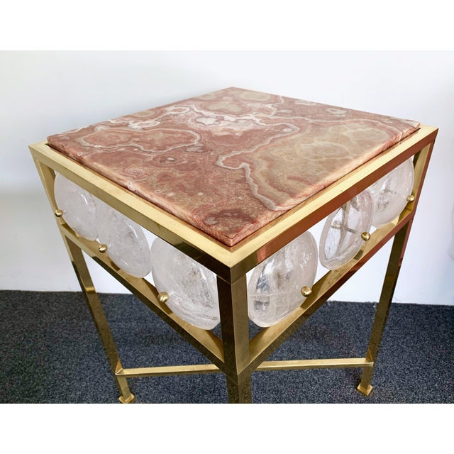 2010s Contemporary Pair of Brass Side Table Rock Cristal Onix, Italy For Sale - Image 5 of 11