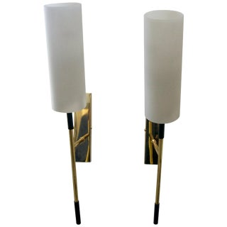 Mid-Century Modern Stilnovo of Italy Brass and White Glass Sconces - a Pair For Sale