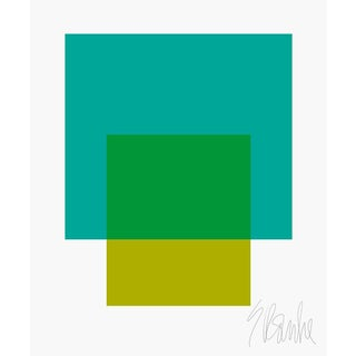 "The Interaction of Teal and Green Fine Art Print 25"" X 30"" by Liz Roache For Sale"