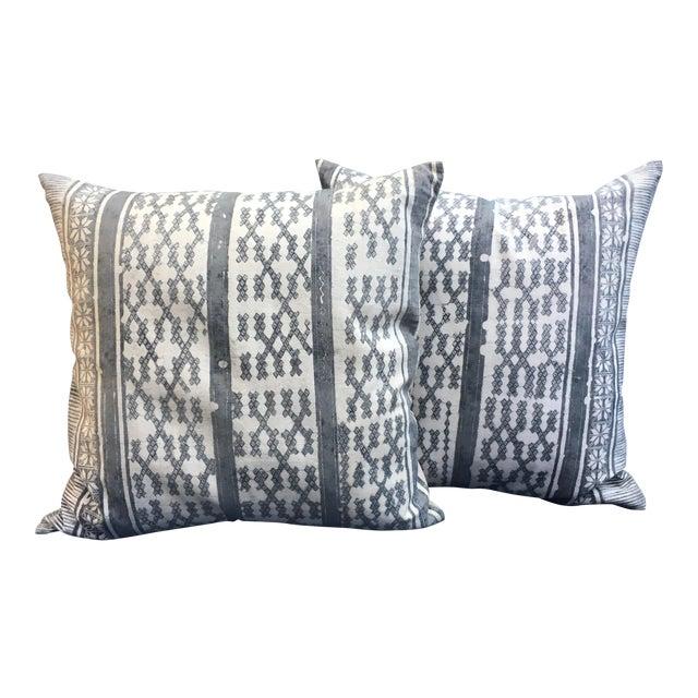 Silver Tribal Batik Pillows - A Pair - Image 1 of 7