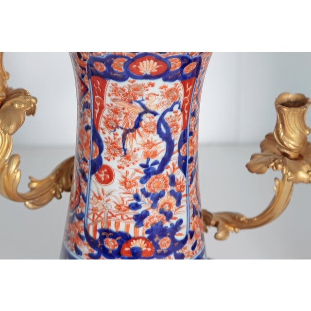 Early 19th Century Pair of 19th Century Ormolu Mounted Imari Vases With Mahogany and Marble Stands For Sale - Image 5 of 12