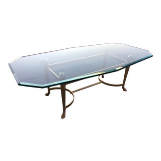 Manner of Jansen Thick Octagonal Cut Glass and Brass Rams Head Coffee Table For Sale