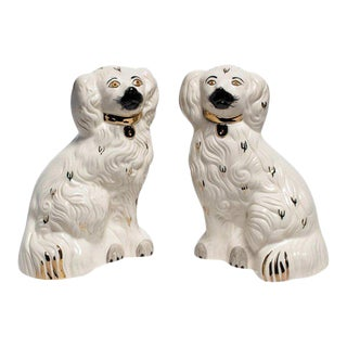 White and Gold Staffordshire Dogs - a Pair For Sale
