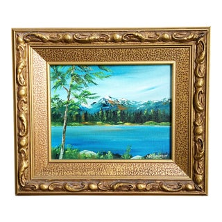 1980s Oil on Canvas Board Framed Landscape Painting For Sale