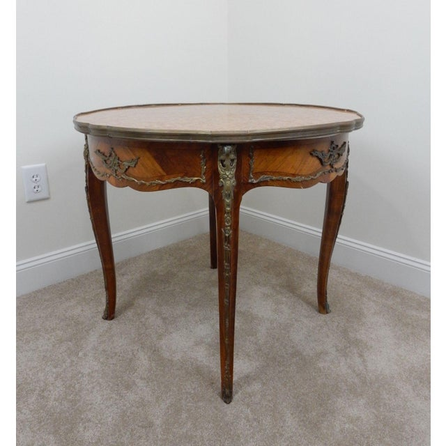 Antique French Inlaid Marble Top Table For Sale - Image 6 of 11