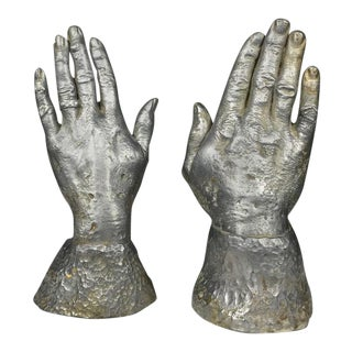 1970s Figurative Solid Lead Sculpture Bookends of Two Hands - a Pair