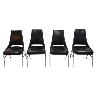 Late 1970s Mid-Century Modern Faux Leather Italian Steel Tube Dining Chairs - Set of 4 For Sale