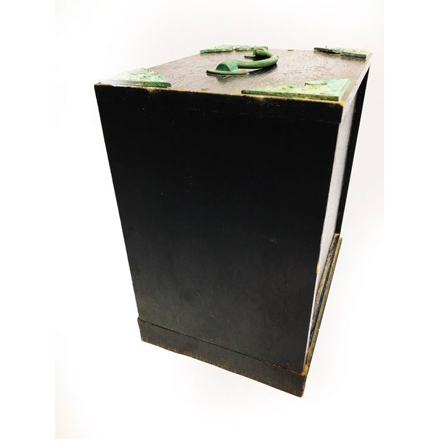 Vintage Mid Century Black Wood & Copper Traveling Jewelry Box For Sale - Image 4 of 5