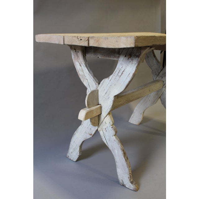Wood Bleached Pine Table With Trestle Base For Sale - Image 7 of 7