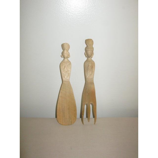 Figurative Vintage Hand Carved Wood Indonesian Salad Fork + Spoon Serving Set For Sale - Image 3 of 12