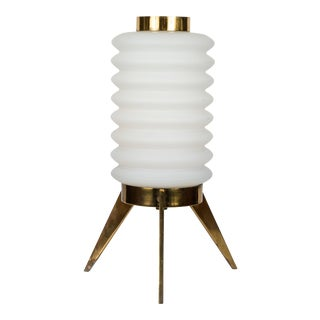 1950s Angelo Lelli for Arredoluce Glass and Brass Tripod Table Lamp For Sale