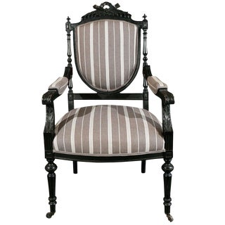 1870s Louis XVI Style Ebonized Fauteuil in Upholstered Linen For Sale