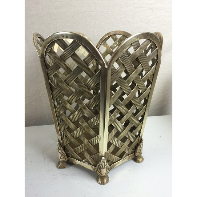 Vintage Woven Brass Wastebasket - Image 3 of 6