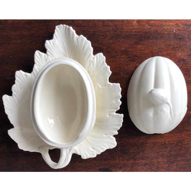 Ceramic Vintage Wedgwood Creamware Melon Form Tureen-Leaf Underplate For Sale - Image 7 of 10