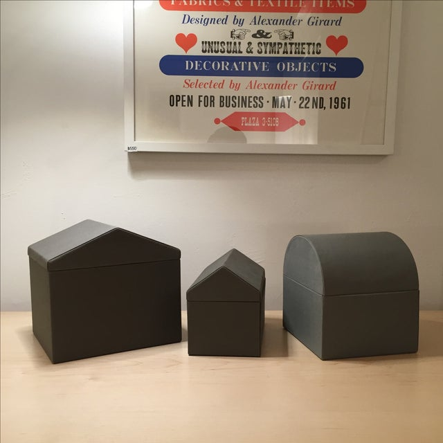 Danish Modern Gray Architectural Boxes - Set of 3 - Image 2 of 6
