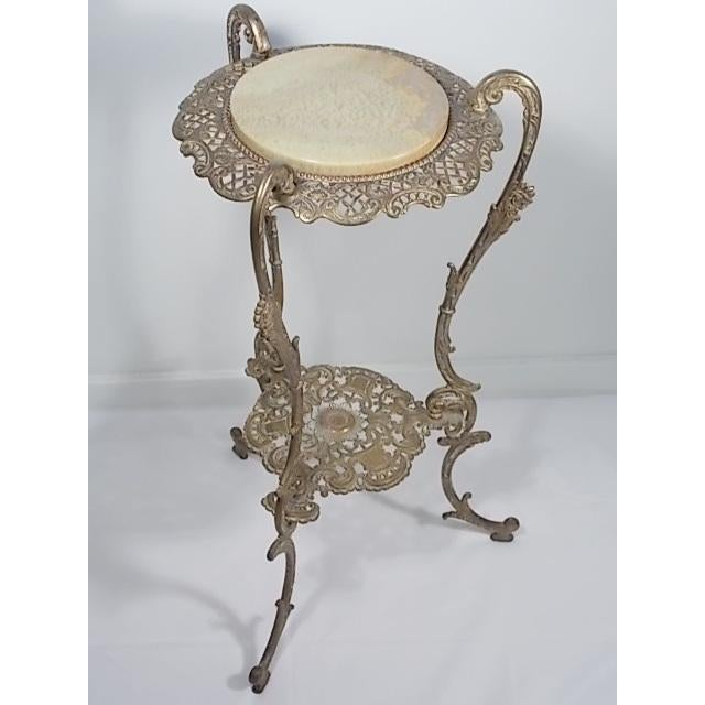 Vintage Victorian Style Brass & Marble Top Filigree Stand For Sale - Image 4 of 10
